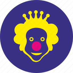clown, crown, face, hero, holiday, round, smile icon