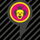 clown, crown, hero, place, pointer, presentation, smile icon