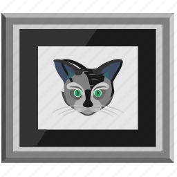 animal, cat, drawing, face, head, kitty, picture icon
