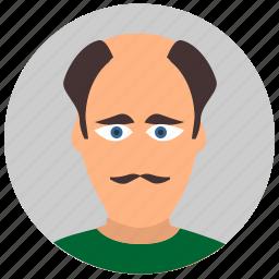 avatar, face, hair, male, man, old icon
