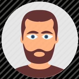 avatar, beard, face, hair, look, male, man icon