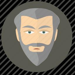 avatar, beard, head, man, old icon