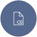 backspace, cut, erase, file, list icon