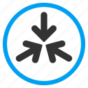 collapse, collide, impact, meeting point, minimize, pointer, triple arrows icon