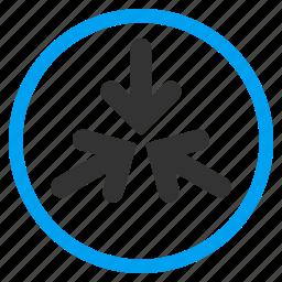 collapse, collide, impact, meeting point, minimize, pointer, triple arrows icon