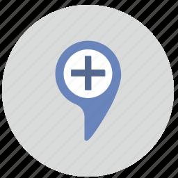 geo, location, plus, pointer, tag icon