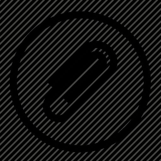 attach, attachment, case, file, paper clip, roundedwhite icon