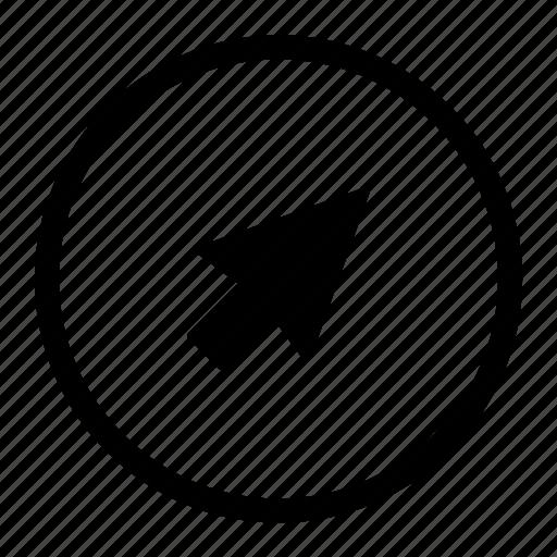 arrow, click, cursor, mouse, pointer, roundedwhite icon