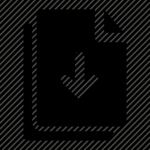arrow, data, document, down, file, folder icon