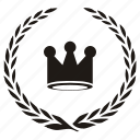 branch, crown, king, laurel, queen icon