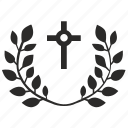 branch, cross, laurel, religion icon