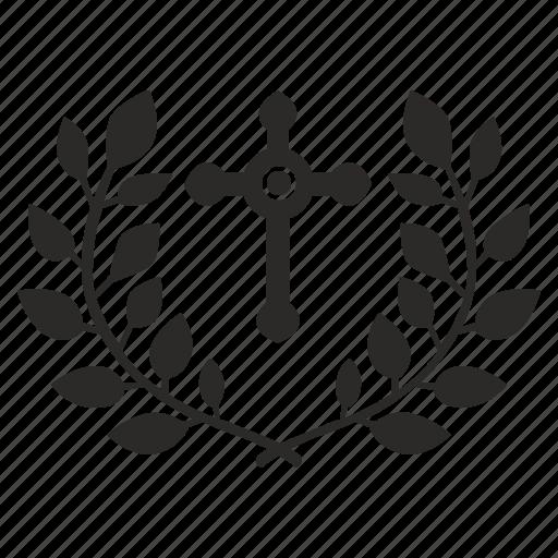 christianity, cross, faith, laurel, religion icon