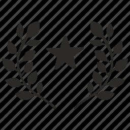champion, laurel, star, winner icon