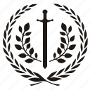 branch, laurel, sword, win icon