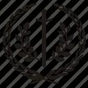 branch, laurel, sword, win