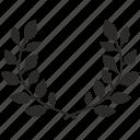 laurels, leaves, wreath, winner, branch