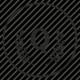 laurel, letter, q, quality, round icon