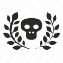 branch, dead, death, laurel, skull icon
