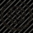branch, laurel, planet, world icon