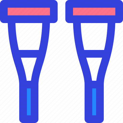 crutches, hospital, medical, tools, walk icon