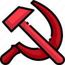 communist, hammer, russia, russian, sickle, socialist icon