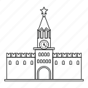 architecture, clock, kremlin, line, outline, russian, spasskaya icon