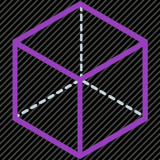 creative, design, geometry, hexahedron, line, shape icon