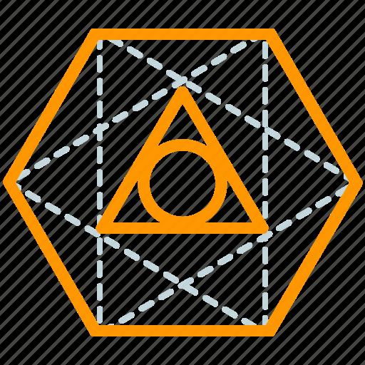 creative, design, geometry, line, octahedron, shape icon