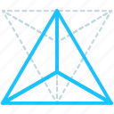 creative, design, geometry, line, shape, tetrahedron icon