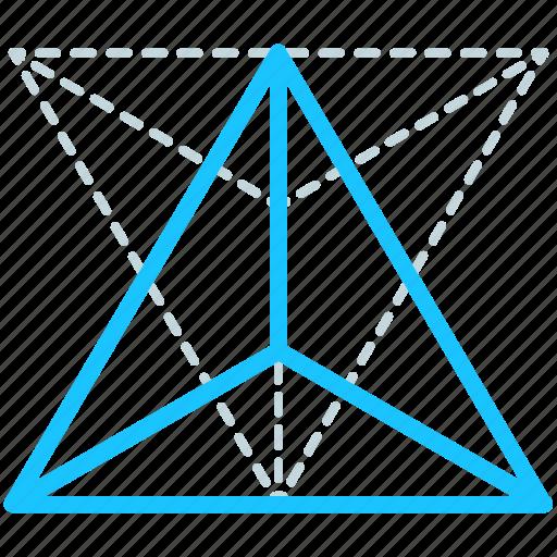 creative, design, geometry, line, shape, tetrahedron icon