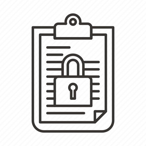 document, file, lock, password, protection, secure, security icon