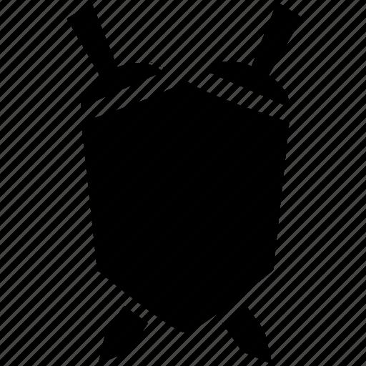 emblem, safety, shield, sword icon
