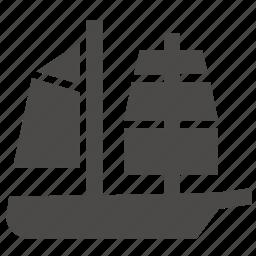 brigantine, marine, military, passenger, sailing, ship, transport icon