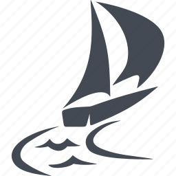 boat, sail, sea, speed, track, wave, wind icon