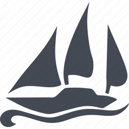 boat, sail, sea, speed, wave, wind icon