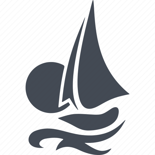 boat, sail, sea, speed, sunset, wave, wind icon