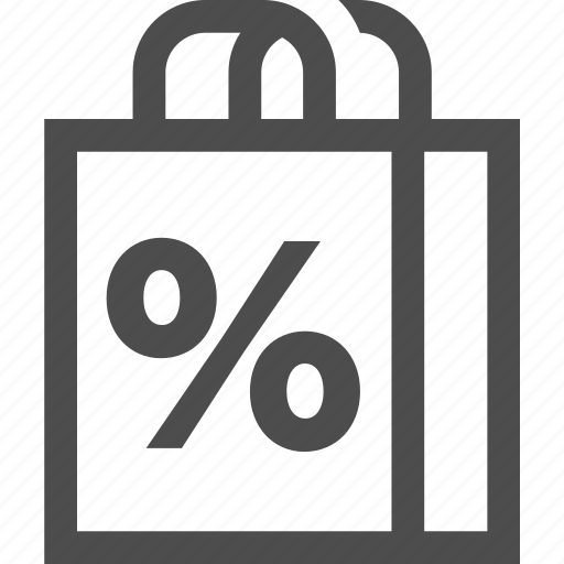 bag, fees, percent, promotion, sale, shopping icon