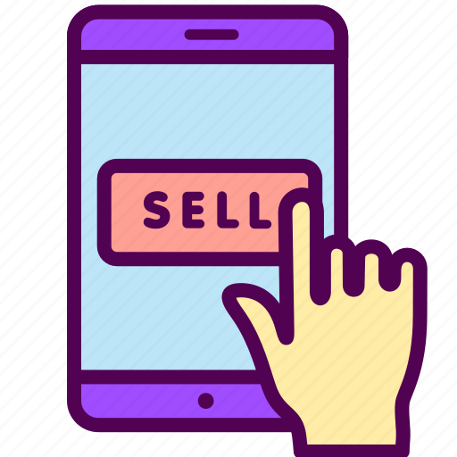 Sell, shop, smartphone, sales, online, ecommerce icon