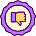 down, ecommerce, online, sales, shop, thumbs icon
