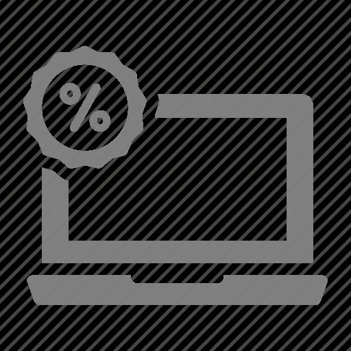 discount, laptop, online, sales, shop icon