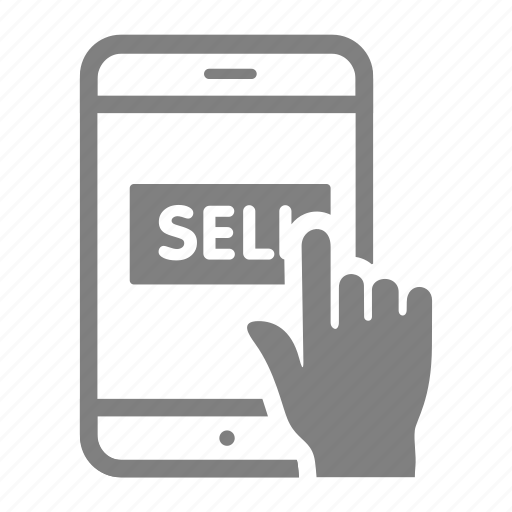 click, online, sales, sell, shop, smartphone icon