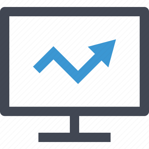 analytics, arrow, business, chart, computer, good, growing icon