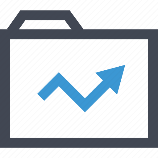 arrow, business, files, folder, growing, guardar, save, up icon