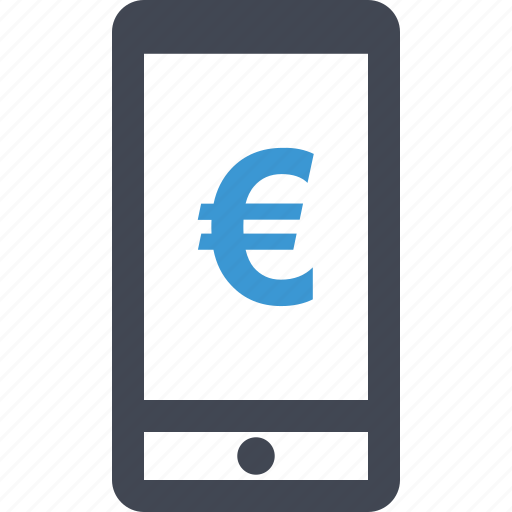 cell, euro, mobile, online, payment, phone, sign icon