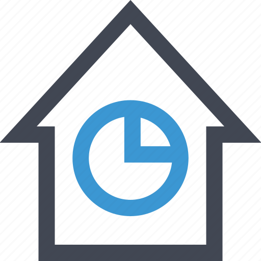 analytics, chart, equity, graph, home, housing, pie icon