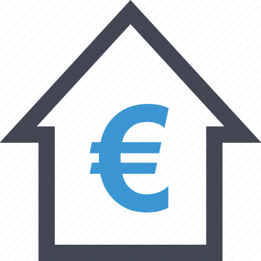 equity, euro, home, housing, money, sign, wealth icon