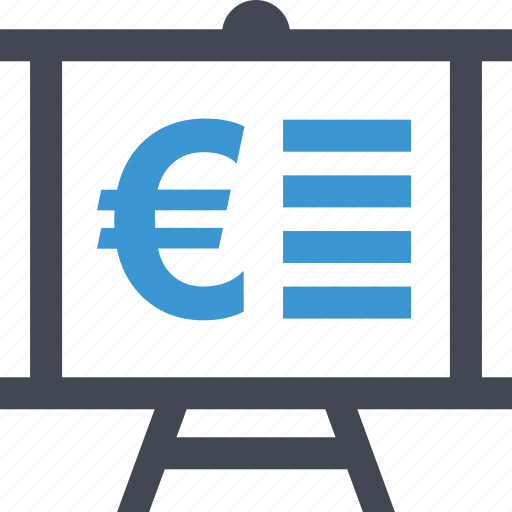board, business, document, euro, page, presnetation, sign icon