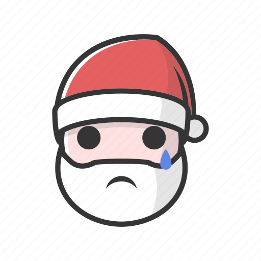 christmas, claus, cry, crying, sad, tear, unhappy icon