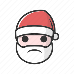 bad, christmas, claus, gift, holiday, sad, unhappy icon