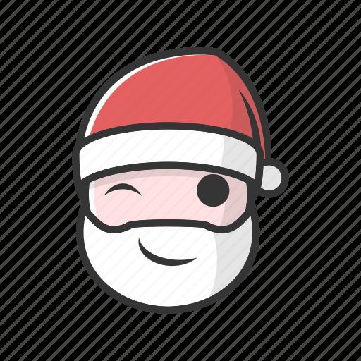 christmas, emoji, gift, good, playfull, smile, wink icon